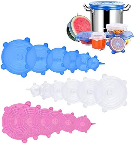 Silicone Stretch Lids 18 Pack Reusable Silicone Lids Silicone Bowl Covers 6 Sizes Silicone Covers product image