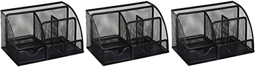 Price comparison product image Greenco Mesh Office Supplies Desk Organizer Caddy,  6 Compartments,  Black (3 PACK Large)