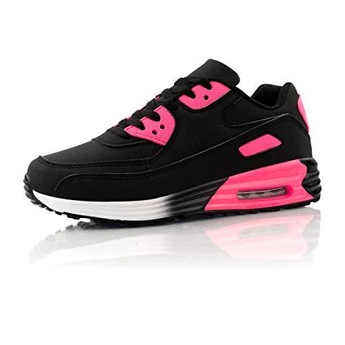 Fusskleidung® Damen Herren Sportschuhe Dämpfung Sneaker leichte Laufschuhe Pink Schwarz EU 39