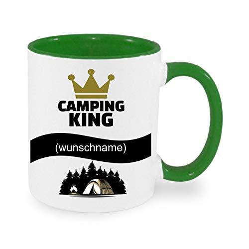 Crealuxe Tasse m. Wunschname Camping - King (Wunschname) - Kaffeetasse mit Motiv, Bedruckte Tasse mit Sprüchen oder Bildern