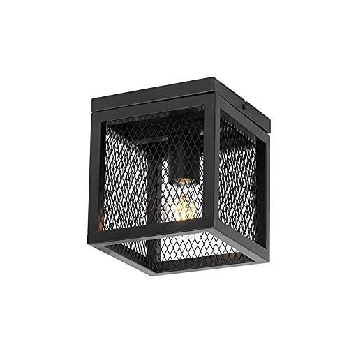 QAZQA Moderno Industriële plafondlamp zwart - Cage Mesh Acero Cuadrada Adecuado para LED Max. 1 x 40 Watt