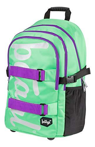 Baagl Schulrucksack für Mädchen Teenager - Skateboard Rucksack - Kinderrucksack mit Laptopfach und Brustgurt für Schule (Mint)