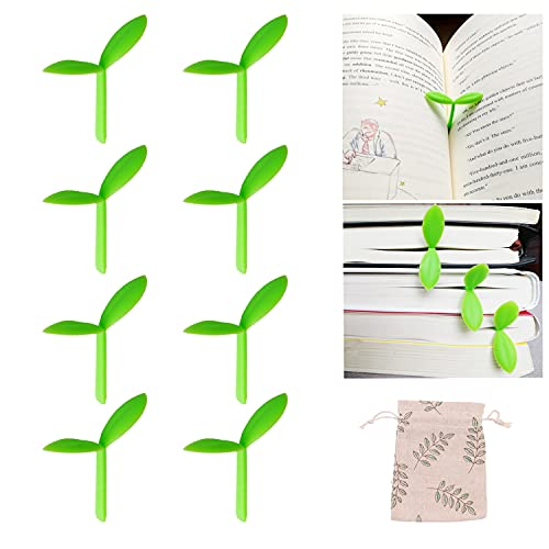 Sprout Little Green Bookmarks Mini Green Sprout Bookmarks Silicone Grass Buds Bookmarks Creative Gifts for Bookworm Book Lovers Reading (Green 8pcs)
