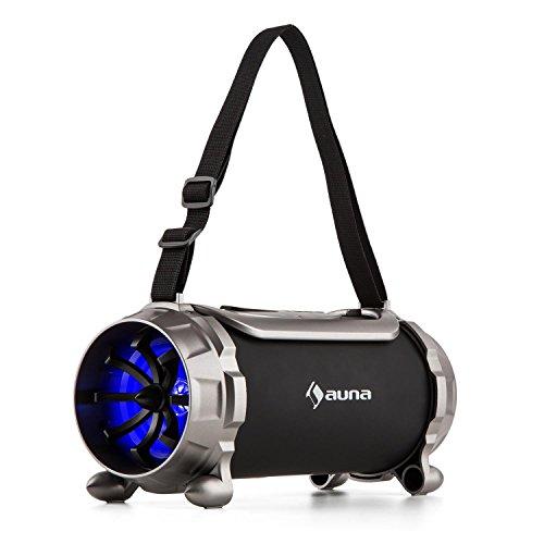 auna Blaster S Boombox mit 15 Watt RMS und Akkubetrieb, Black Edition, Bluetooth 3.0, Micro-SD Slot, AUX, UKW Radio, automatischer Sendersuchlauf, transportabel, schwarz