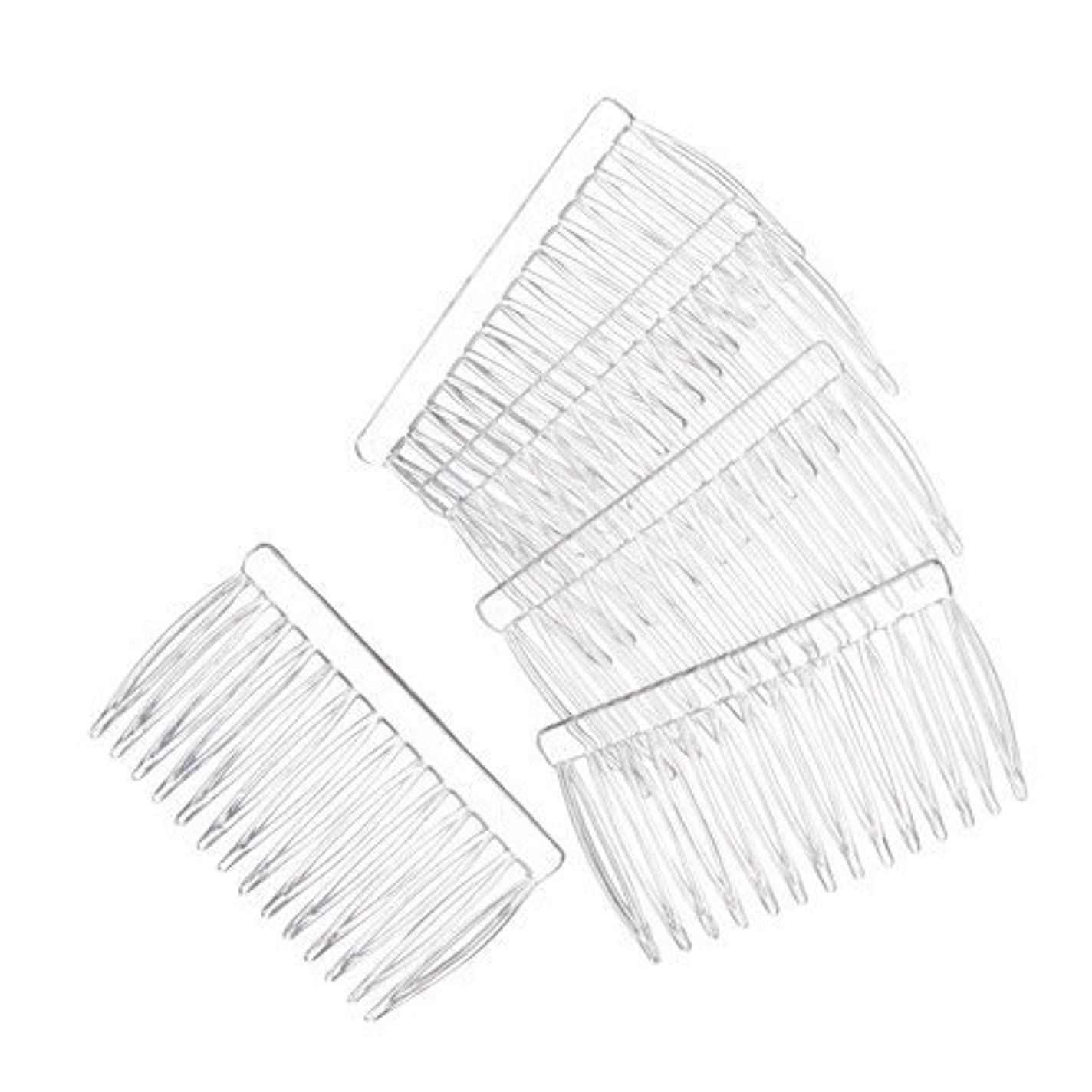 見えるフレッシュ揮発性JUXINDA 14 Clear Plain plastic Smooth Hair Clips/Combs 2 3/4