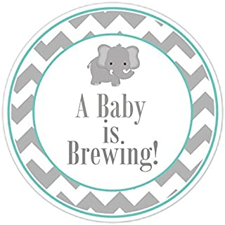 36 Teal Elephant Baby Shower Labels, Baby Brewing