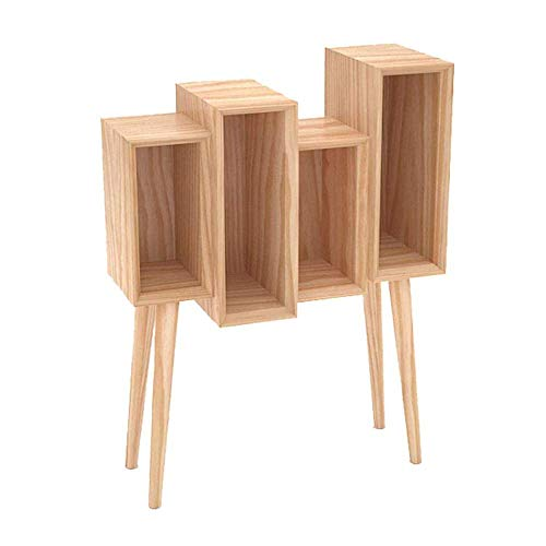 Daily Equipment Display Rack Free Standing Shelf for Living Room Simple Living Bookshelf Solid Wood Small Bookcase Magazine Cabinet Multi Function Display Can Store Storage Drawers Sofa Side Cabine