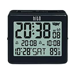 hito Atomic Travel Alarm Clock with Auto Back Light 6 Timezones, Date Day Indoor Temperature- Battery Powered