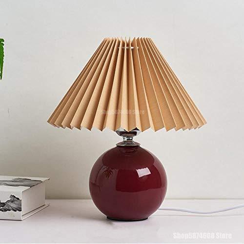 2020 Latest Design Tischleuchte faltbar aus Keramik Vintage koreanisch Plissee Lampen für Japaner Platz Leuchtmittel für zu Hause, Kaffee und Rot, schließen Sie die EU an.