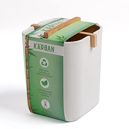 KARBAN Organizer klein -100% natürlicher Organizer fürs Badezimmer, Arbeitszimmer oder Küche. Ideal als Make-up Organizer, Stiftehalter, Ordnungsbox, Besteckkasten - 8,4x7,8x10,5cm (LxBxH) weiß