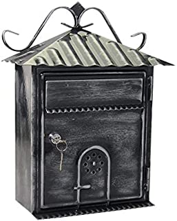 Letter Box, Metal Letter Box Retro Black Vertical Lockable Mailbox, Anti-Rust,Photography Props Fresco Wedding Bar Cafe Ho...