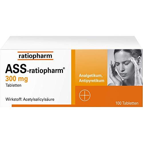 ASS-ratiopharm 300 mg Tabletten bei Schmerzen und Fieber, 100 St. Tabletten