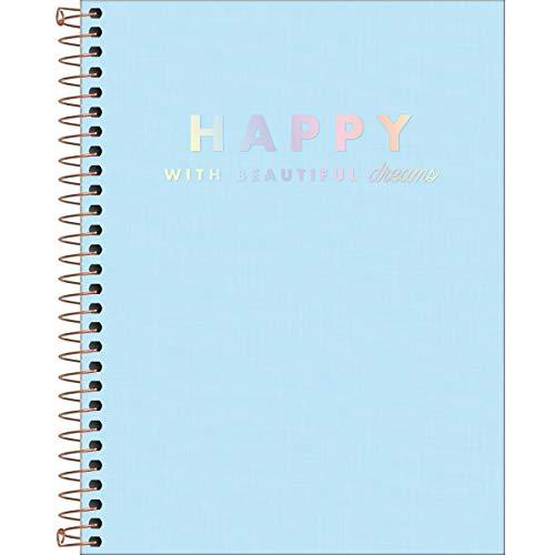 Tilibra 307017 - Caderno Capa Plástica, Happy, 80 Folhas, (17x24 cm), 1 Matéria, Azul