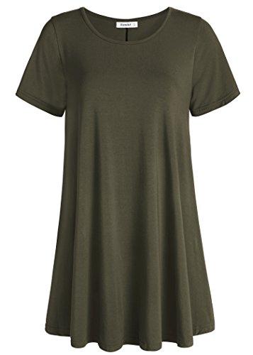 Esenchel Women's Tunic Top Casual T Shirt for Leggings 2X Army Green
