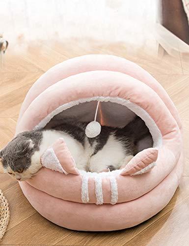 Poyourlla 猫ハウス 冬 可愛い ふわふわ 暖かい 柔らかい 小型犬 キャット ペット小屋 洗える ゃれ 滑り止め ヘアボール セミクローズド 猫用ベッド ピンク M