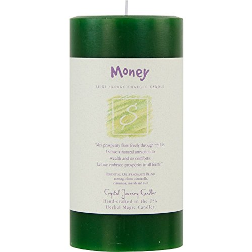 6' X 3' Crystal Journey Herbal Magic Reiki Charged Pillar Candle - Money