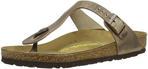 Birkenstock Damen Gizeh Greased Leather Zehentrenner, Braun (Tabacco Brown), 41 EU