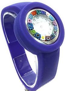 Reloj de mujer Murrina Veneziana con correa de silicona y cristal de Murrina violeta
