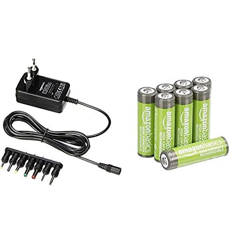 Amazon Basics - Universal-Steckernetzteil mit 7 abnehmbaren Steckern, 3-12V (Gleichspannung), umkehrbare Polarität & AA-Batterien mit hoher Kapazität, wiederaufladbar, vorgeladen, 8 Stück