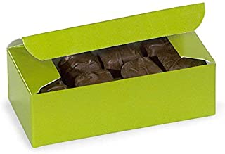 """Pack Of 10, Leaf Green Candy Boxes 1/2 Lb 5.5 X 2.75 X 1.75"""" 1 Pc Boxes Made In USA For Candy/Fine Chocolates & Fudge"""