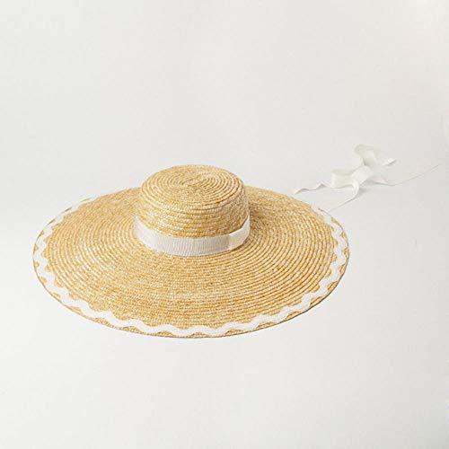 WYB Cappelli Donne Onda patch di stoffa tesa piatta grande cappello di paglia all'aperto ombrellone spiaggia cappello di paglia bianco