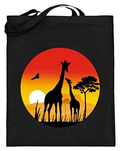 SPIRITSHIRTSHOP Giraffen Im Sonnenuntergang - Schönes Und Schlichtes Design - Jutebeutel (mit langen Henkeln) -38cm-42cm-Schwarz