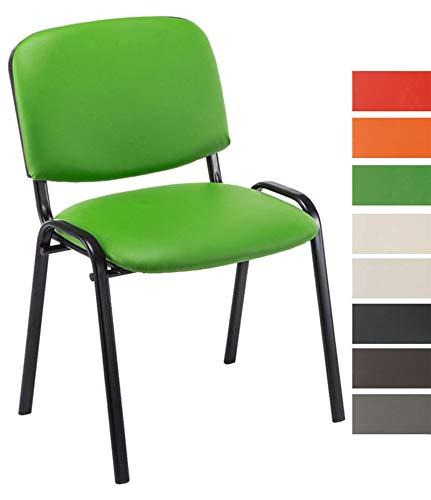 CLP Besucherstuhl Ken mit hochwertiger Polsterung und Kunstlederbezug I Stapelstuhl mit robustem Metallgestell und gepolsterter Rückenlehne, Farbe:grün