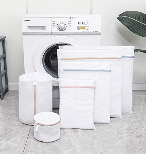 L-JUWA 洗濯ネット ランドリーネット 洗濯袋セット 6枚入+4個透明フック 細かいメッシュ 洗濯用品 旅行収納袋 家庭用 変形を防ぐ 絡み防ぎ タオル/ブラジャー/Tシャツ靴下小物/下着/シャツなど適用 一年保証付き