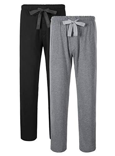 DAVID ARCHY Men's Comfy Jersey Soft Cotton Knit Pajama Long John Lounge Sleep Pant in 2 Pack (XL, Black/Heather Gray)