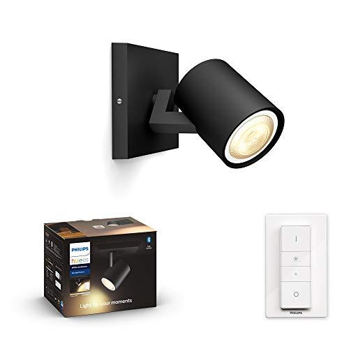 Philips Hue White Amb. LED 1-er Spotleuchte Runner inkl. Dimmschalter, schwarz, dimmbar, alle Weißschattierungen, steuerbar via App, kompatibel mit Amazon Alexa (Echo, Echo Dot)