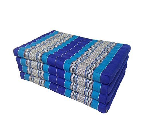 Collumino Traditional Thai kapok Pieghevole Materasso per Yoga Massaggi o Relax–Lunghezza Extra Misura 200x 80cm Light Blue, Dark Blue