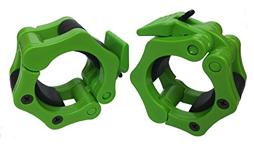 Pair of 2 Inch Olympic Size Locking Barbell Lock Collar with Quick Release Red Secure Snap Latch (Green)
