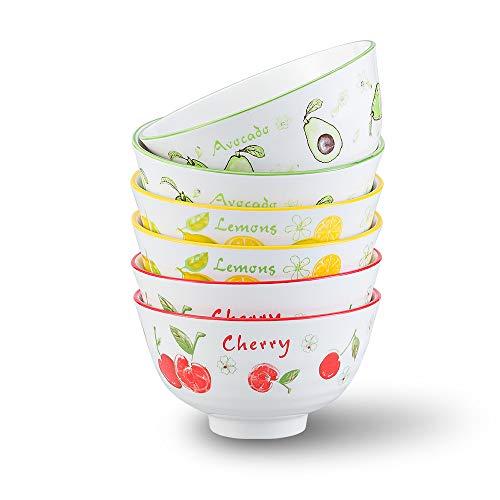 Tazones Desayuno Juego de 6 - Cuenco Cereales Cuencos Sopa Pequeno 275ml - Cuencos Ceramica Colores para Postre | Helado | Arroz | Snack | Aperitivo | 11.2 cm de Diámetro