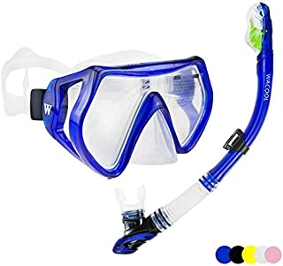 WACOOL Snorkeling Package Set for Adults, Anti-Fog Coated Glass Diving Mask, Snorkel with Silicon Mouth Piece,Purge Valve and Anti-Splash Guard.