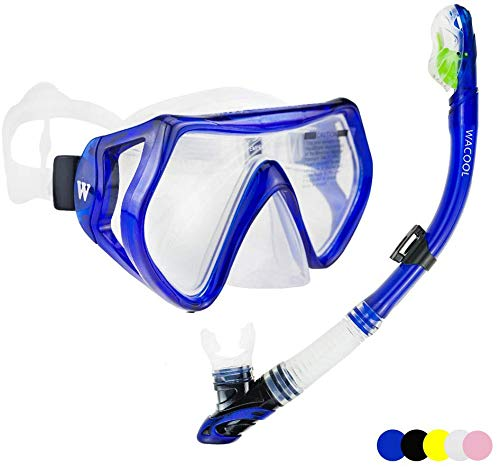 WACOOL Snorkeling Package Set for Adults, Anti-Fog Coated Glass Diving Mask, Snorkel with Silicon Mouth Piece,Purge Valve and Anti-Splash Guard.(Blue)