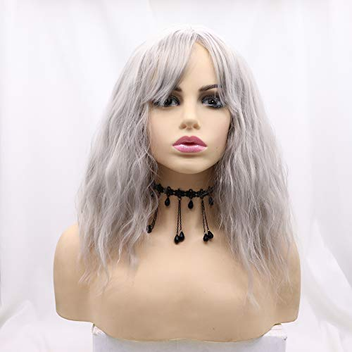 Xiweiya Wigs Short Bob Gray Curly Wavy None Lace Synthetic Wig with Bangs Full Machine Made Cici Hair Heat Resistant Fiber for Women, Drag Queen Cosplay Christmas Dress up14 Inches