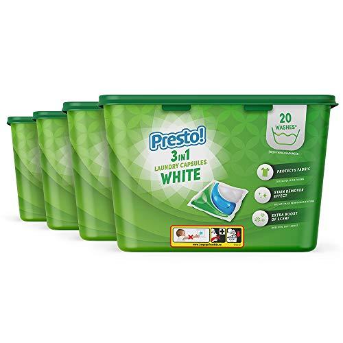 Marca Amazon - Presto! Detergente en cápsulas para lavadora 3 en 1 Ropa blanca, paquete de 2 - 80 lavadas