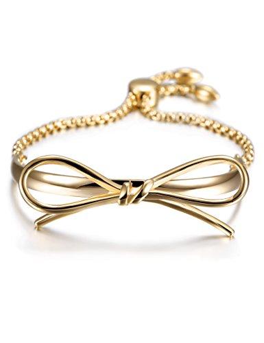 WISTIC Damen Armreif Slider Liebe Bogen Knoten Armband Gold Silber Charme Italienischen Stil Armband Edelstahl Einstellbare Link Armband Für Frauen Mädchen Schmuck Geschenk