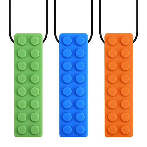 3 Pack Sensory Chewing Necklace for ADHD Teething Autism Biting Oral Motor Chewy Stick/Tube Toy Jewelry for Boys Girls Adults Toddlers(Blue Green Orange) by Accmor