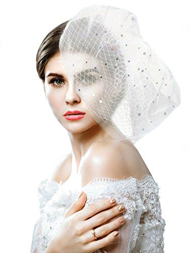handcess Hochzeit bridcage Schleier mit Kamm Floral Laser Pailletten Fascinator Netz Kurz Rouge...