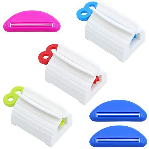 DXLing 6 piezas Exprimidor de Pasta de Dientes Clips de Soporte Tubo de Plástico Universal Enrollable y Simple Extrusor de Tubo Rotación Fácil Pasta de Dientes Dispensador para Accesorios de Baño