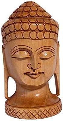 Wood Carved Buddha Head Figurine, Buddha Face Statue, Buddha Head Statue for Home Decor, Buddha Head Figurine Wooden Handicraft, Buddha 3 Inch Mini Statue Home Decoration Figurine Gift