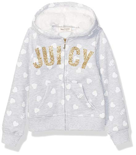 Juicy Couture Girls' Toddler Hoodie, Gray Print, 3T