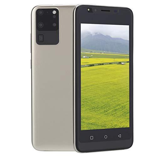 Smartphone, schermo grande da 5,0 pollici Doppia scheda SIM Fotocamera HD da 2 MP Telefono cellulare con memoria espandibile da 128 GB, riconoscimento facciale da 512MB+4GB Sblocca smartphone(Oro)