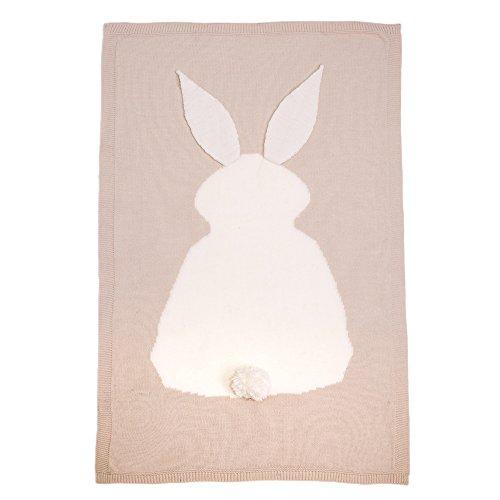 TININNA Manta para bebé de otoño con aire acondicionado, suéter de conejo, manta de punto, suave y cálida, para envolver el saco de dormir, ropa de cama, cuna, cochecito de bebé