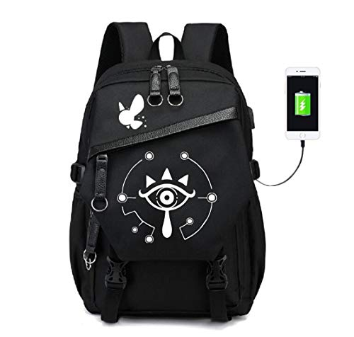 YOYOSHome Luminous The Legend of Zelda Anime Cosplay Daypack Bookbag Laptop Tasche Rucksack Schultasche mit USB-Ladeanschluss