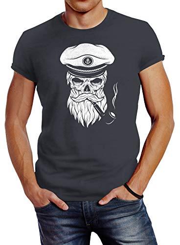 Neverless Herren T-Shirt Totenkopf Kapitän Captain Skull Bard Hipster Original Spirit Seemann Slim Fit dunkelgrau XXL
