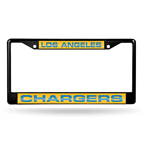 Rico Industries NFL Los Angeles Chargers Laser Cut Inlaid Standard Chrome License Plate Frame