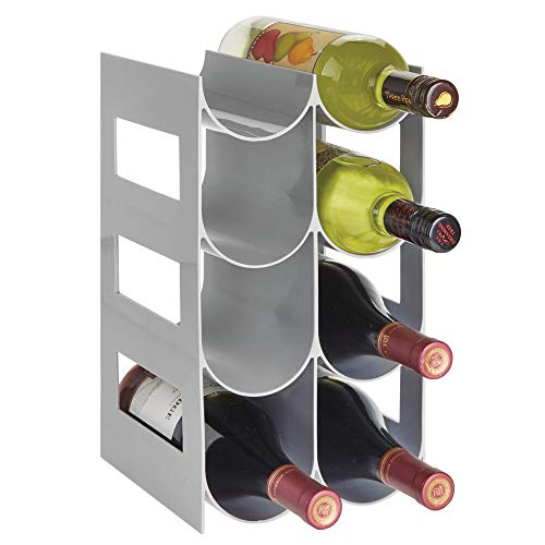 mDesign Práctico estante para botellas de vino – Botelleros para vino y otras bebidas para guardar hasta 8 unidades – Vinoteca de plástico de pie – gris