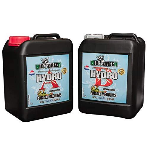 Fertilizante HYDRO A+B Especial para Cultivos de Cannabis y Marihuana. Mejora su Crecimiento y Floración. No Sulfurada. Producto CE. 2 UNIT 5 LITROS